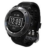 UWear Multi-Sport Smart Uhren Wasserdicht GPS Wandern & Trail Running Sport Uhr mit Herzfrequenz Monitor / SOS / Kompass / Wetter / Barometer / und Höhenmesser für Wanderer (Eisen grau)