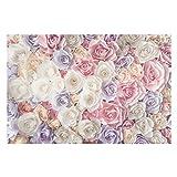 Fototapete Rosen - Pastell Paper Art Rosen - Vliestapete Breit, Größe HxB: 255cm x 384cm