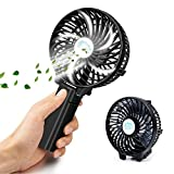 Foldable Handheld Mini Fan, FUNANASUN USB Rechargeable Cooling Hand-fan with Metal Clip, Electric Desktop Fan for Home Office Travel and Umbrella (Black)