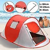 Jago Strandmuschel Campingzelt für 2 Personen | Pop-Up Wurfzelte ca. 219x130x82 cm, UV Schutz | Minipackmaß, Strandzelt, Sonnenschutz