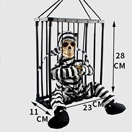 terhaus Horror Dekoration Gefängnis Tot Gefangenen Gefängnis Geister Sound Emittierende Infrarot-Sensoren Requisiten Halloween Requisiten,B (Gefängnis Halloween-dekoration)