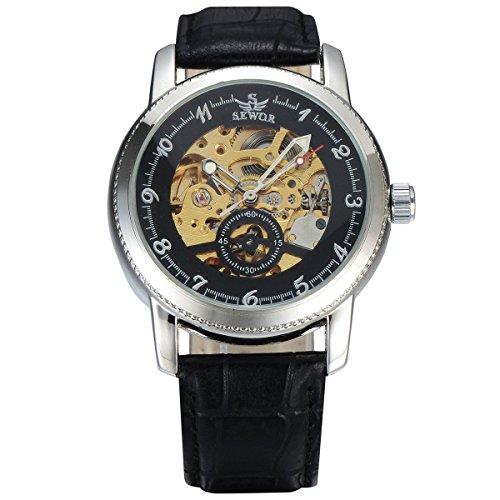 Man, mechanische Uhren, automatische, Freizeit, hohle, Persönlichkeit, PU-Leder, M0225