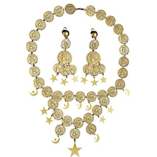 Amakando Halskette und Ohrringe Bauchtanz Modeschmuck Gold Orient Goldschmuck Gipsy Schmuck Set Karneval Kostüm Damen Zubehör 1001 Nacht Accessoires Piraten - Kostüm Schmuck Gold