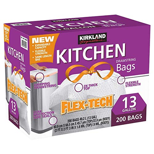 Kirkland Signature X-Large Drawstring Kitchen Trash Bags - Pack of 200