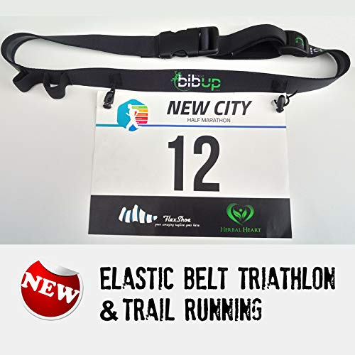 Fascia elastica gara porta numero triathlon e running (Nero)