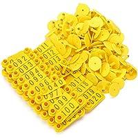 WEONE 1-100 plásticos del número orejas del ganado, la etiqueta con el color amarillo para Cabra Oveja Cerdo paquete de 100