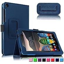 Lenovo TAB3 7 Essential / Lenovo Tab3 A7-10 Funda Case, Infiland Folio PU Cuero Cascara Delgada con Soporte para Lenovo TAB 3 7 Essential (Lenovo TB3-710F) 7,0 inch Tablet 2016 Release/Lenovo Tab3 A7-10, Azul Oscuro