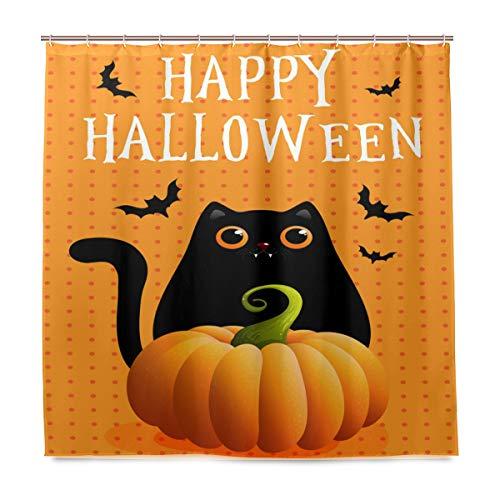 (Wamika Badezimmer Dusche Vorhang Halloween Fledermaus Animal Design Haltbarer Stoff Bad Vorhänge Schimmelresistent Wasserdicht Badezimmer 12Haken 183,0cm x183,0cm)