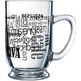 Luminarc Arc International Words in Black Bolero Mug With Coffee (Set of 6), 16 oz, Clear