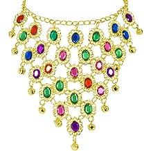 8535f670abb0 Andrea Moden Colorido Collar de Joyas de Oriente Bollywood para Disfraz de  Mujer - Joyas Hermosas