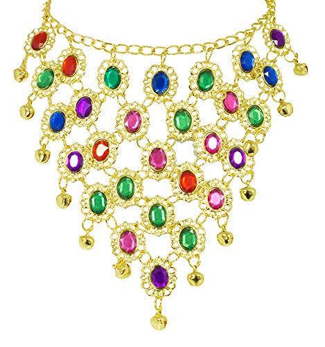Kostüm Indischer Schmuck - Bunter Orient Bollywood Schmuck zum Damen Kostüm Halskette - Schöner Schmuck für orientalische oder indische Kostüme zu Karneval oder Mottoparty