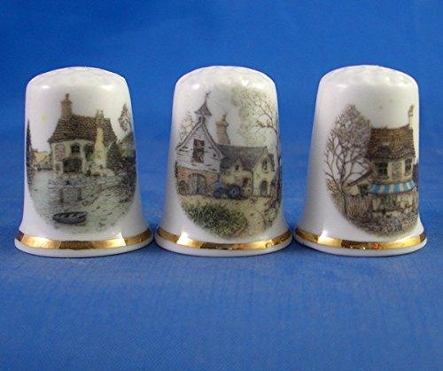 Porcelana China colección de dedales de tres casitas de los países