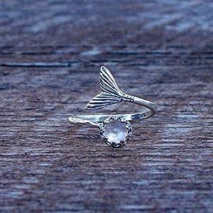 Bottled Up Designs Recycelte Vintage klar Milchflasche Meerjungfrau Ring aus Sterlingsilber
