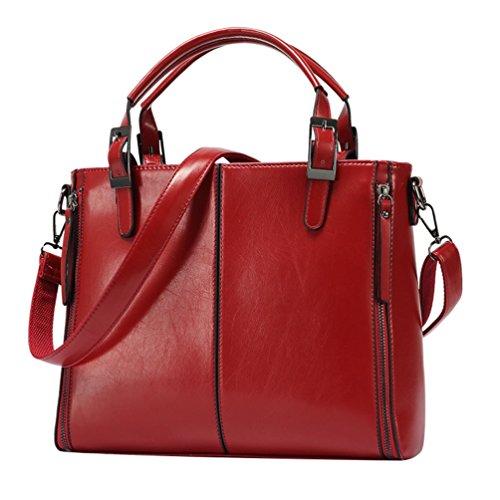 YiLianDa Borsa a Tracolla Donna Vintage Borsa Messenger Valigetta da Ufficio Rosso