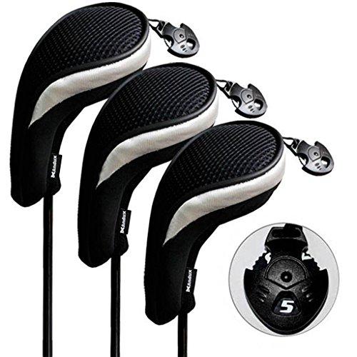 Andux 3 Packung Hybrid golf Schlägerkopfhüllen Golf Eisen deckt Eisenhauben austauschbar Nr. Etikett MT/hy06 schwarz/silber