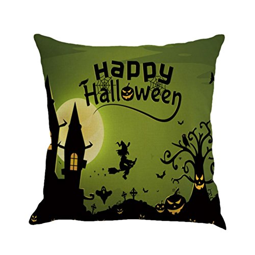 "König Damast-sham (Happy Halloween, 45cm*45cm/18*18"" Leey Kissenbezüge Leinen Sofa Kissenbezug für Wohnkultur (O))"
