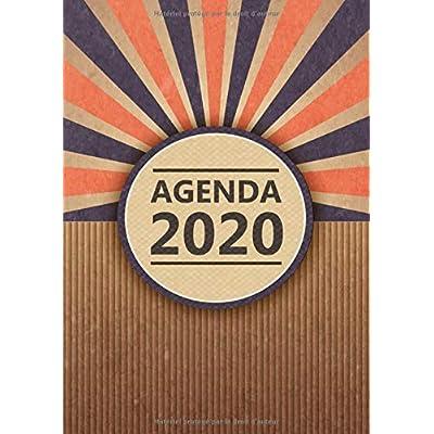 Agenda: Semainier - Grand Format A4 - Vintage Carton Bleu Orange - Calendrier Janvier à Décembre