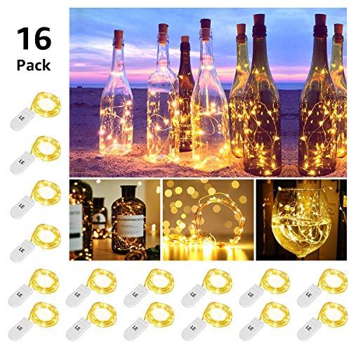 LE Guirlandes Lumineuses à Piles (Inclus) 1m 20 LEDs Blanc Chaud, Lot de 16, Guirlande LED en...