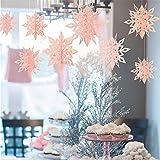 Hffan 6-teiliges Set Weihnachten Schneeflocke Anhänger Hauptdekoration Partydekoration Türverzierung Fensterdekoration Wanddekoration Weihnachten(Rosa,25x2&20x2&15x2(cm))