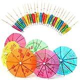 SevenMye 40 Pieces Paper Cocktail Parasols Umbrellas Party Wedding Supplies Luau Drink Stick Straws
