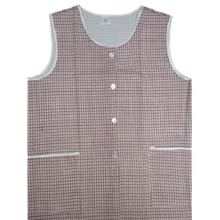 Ladies Dogtooth Tabard with Two front pockets four front buttons Brown WMS (Approx 36-38 inches)