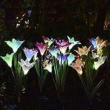 2 Stücke Solarbetriebene Led Farbwechsel Lilie Blumen Garten Licht Dekorationen Wasserdicht Hof Terrasse Rasen Licht Farbe Licht 2 Stücke (Lila + Rosa)