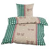 WOMETO Bettwäsche Biber Eichhörnchen grün ca. 135x200cm und ca.80x80cm, 100% Baumwolle, OekoTex 100, Weihnachten