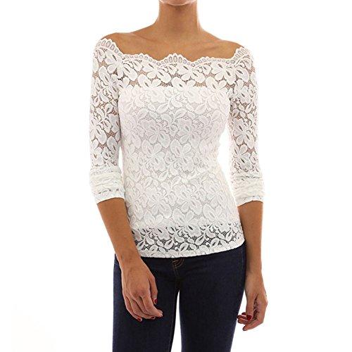 Damen Elegant Langarmshirt Blumen Spitze Blusen mit Boot Hals OL Business Party T-Shirt Tops Oberteile 34-44 Business-hals