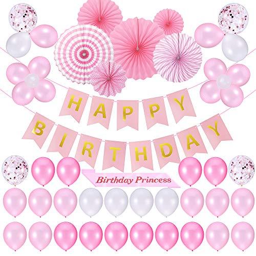 Phogary 53 PCS Rosa Geburtstagsparty Dekoration Pack - Alles Gute zum Geburtstag Banner + 45 Party Ballons + 6 Papier Fans + Geburtstag Prinzessin Schärpe