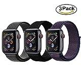 Tervoka Für Apple Watch Armband 42mm(44mm Series 4), Gewobenes Nylon Sport Schlaufe Handgelenk Uhrband Ersatz Armreif Uhrenarmband für iWatch Apple Watch 42mm 44mm Series 4/3/2/1, 3 Pack D