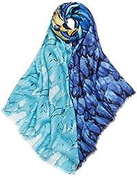 Prettystern - 185cm 100% Laine pashmina écharpe avec motif - ailes colorées