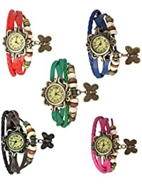 Woman Combo Watch Fashion Vintage Analogue Designer Red,Blue,Green,Brown,Pink Leather Watch For Woman Pack Of 5