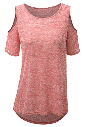 SMITHROAD Damen T-Shirt Sommer Kurzarm Rundhalsausschnitt Schulterfrei Stretch Vokuhila Unifarben 10 Farben Übergröße Rosa