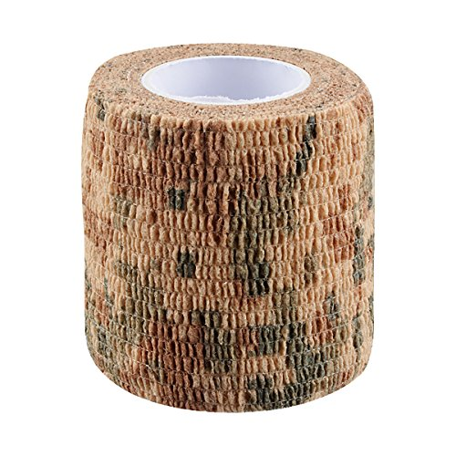 Selbstklebend Schutz Camouflage Tape Wrap 5cm x 4,5m Tactical Camo Form Multifunktions-Vlies Stoff Stealth Tape Stretch Bandage für Outdoor Militär Jagd–1 Einheitsgröße Desert camouflage (Desert Camo Stoff)