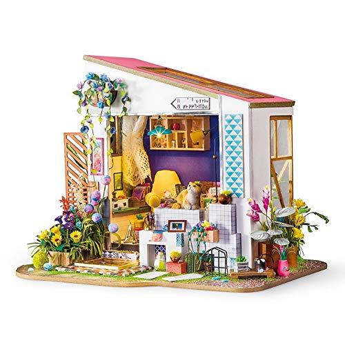 Kinder aus Holz Mini Toy House Kit - 3D Holzpuzzle - Lily's Porch Set - mit LED - Home DIY für Junge Mädchen Geschenk Cover