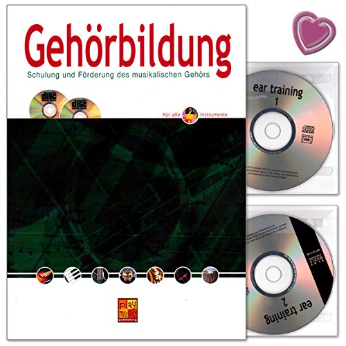 Gehörbildung - Schulung und Förderung des musikalischen Gehörs von Franz Berg - Lehrbuch mit 2 CDs und bunter herzförmiger Notenklammer