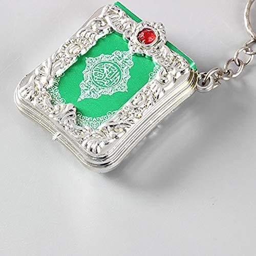 MoO1deer KaiFland Arabischer Koran Buch Mini Anhänger Schlüsselbund Tasche Auto Hängen Schlüsselanhänger Geburtstagsgeschenk Silber