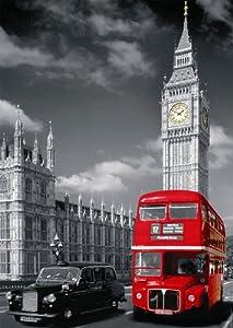Nathan 87735 - Puzle (1500 Piezas), diseño de Londres con autobús Rojo característico
