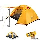 Topnaca® 1 2 3 4 Person Camping Zelt Wasserdichte Markise Design Zwei Türen Doppelschicht mit Aluminium Ruten für Outdoor Backpacking Familie Strand Jagd Wandern Reisen (Orange, 3 Personen)