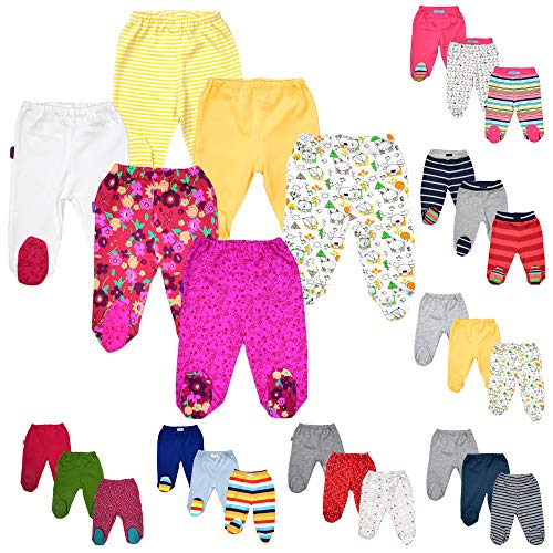 a210180574 bebepan Baby Hose mit Fuß Neugeborene Strampelhose mit Fuß 3er Pack Hose  Baby (68) ... (50, gestreift grau (H 0008))