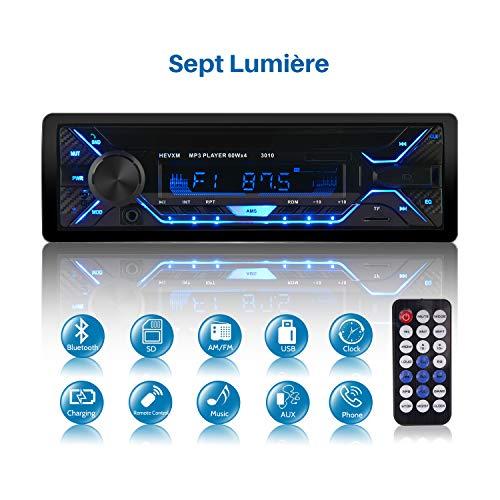 Poste Radio Voiture, Autoradio Bluetooth 1 Din, 7 Couleurs Stéréo Vidéo FM Radio 4x60W Poste Audio avec LCD Microphone Support USB/SD/AUX/EQ / MP3 avec Télécommande