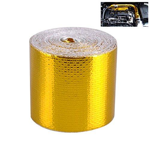 CARGOOL Hitze-reflektierendes Band-Folien-Dichtungs-Isolierungs-Band Alumium-Hochtemperatur-klebendes Automobilauspuff-Rohr-dekoratives Schild-Verpackungs-Patchen Heißes kaltes Luft-Reparatur-Hitze-Sperren-Band Rollen-thermische Sperren-Verpackung, Gold