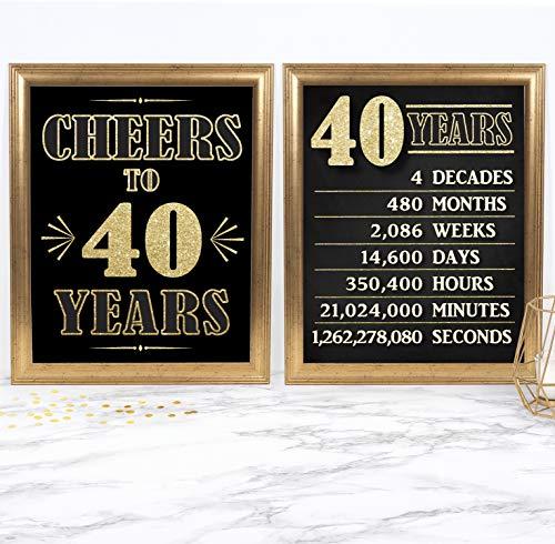 Katie Doodle BD020 Geburtstagsdekoration, Geschenk für Ehemann, Ehefrau, Männer, Frauen, mit Schild aus dem Jahr 1999, Nicht gerahmt, Schwarz/goldfarben 8x10 40th Sign Set (Unframed) (40th Wedding Anniversary Dekorationen)