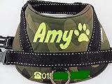 Hundegeschirr S M L XL XXL Brustgeschirr mit Wunsch Namen bestickt Camouflage Wasserfest grün Tarnoptik