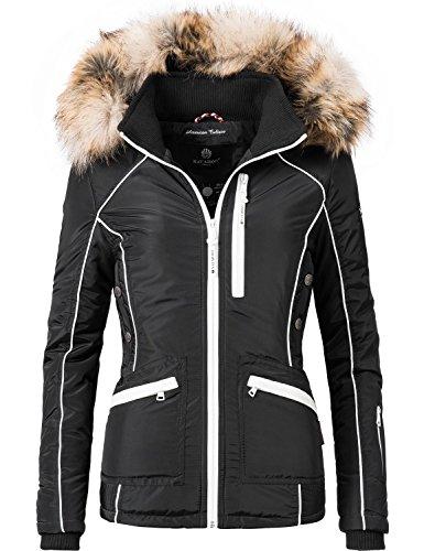 Navahoo Damen Outdoor Jacke Winterjacke Snow White (vegan hergestellt) Schwarz Gr. L