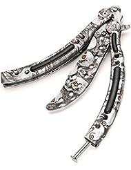 Mariposa cuchillo Halloween calavera acero inoxidable Balisong cuchillo de entrenamiento con bolsa de nailon y funda