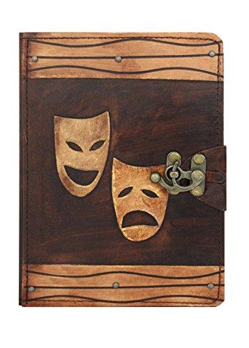 A Little Present Happy Sad Drama Maske Dekoration Vintage Leder Geldbörse (Hardcover mit Flip Ständer und Schloss für Apple iPad Air 2und Air, braun