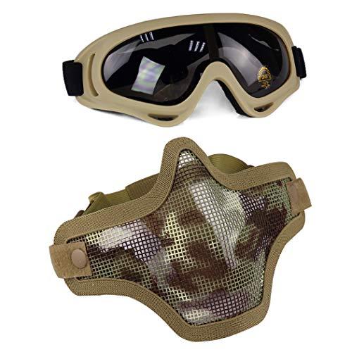 Aoutacc Juego de máscaras y Gafas Airsoft
