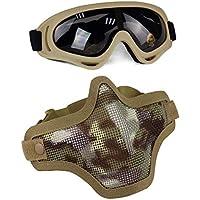 Aoutacc Juego de máscaras y Gafas Airsoft, máscara de Malla de Acero Completa de Media Cara y Gafas para CS/Caza / Paintball/Disparos (IT)