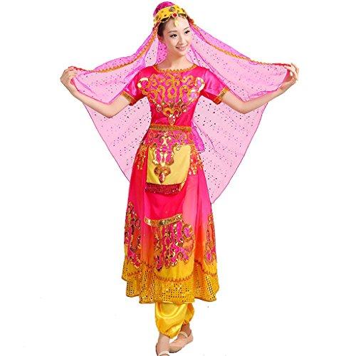 Kostüm Tanz Für Indischer Verkauf - Wgwioo Bauchtanz indische aufführung ethnische kostüme Stickerei Pailletten Erwachsene Frauen chor bühne national Rock, Rose red, s